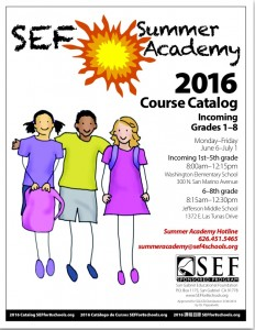 SEF Summer Academy Catalog 2016, 1st-8th