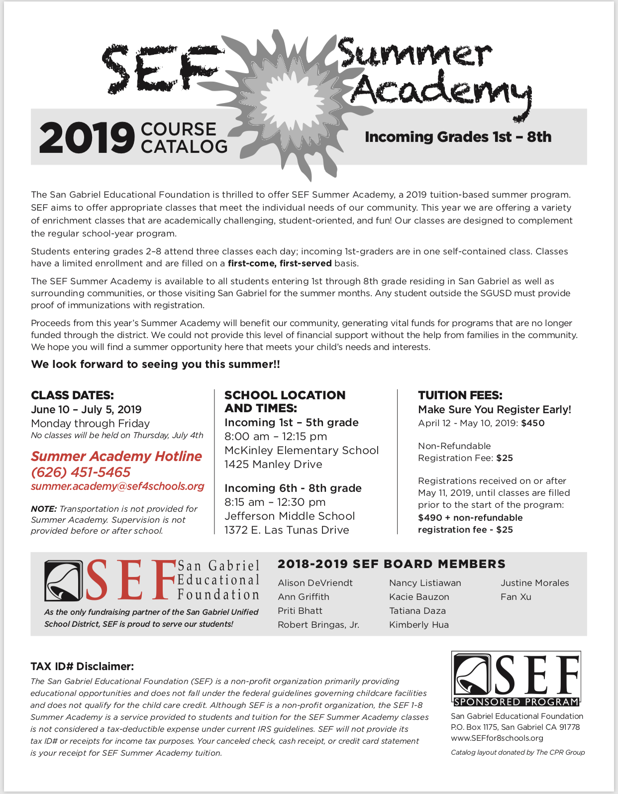 SEF Summer Academy 2019 - San Gabriel Educational Foundation