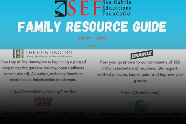 Get the latest free family resource guide from the San Gabriel Educational Foundation